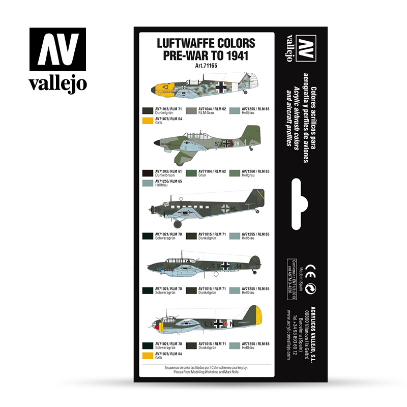 Vallejo 71.165 - Aircraft Colour Schemes