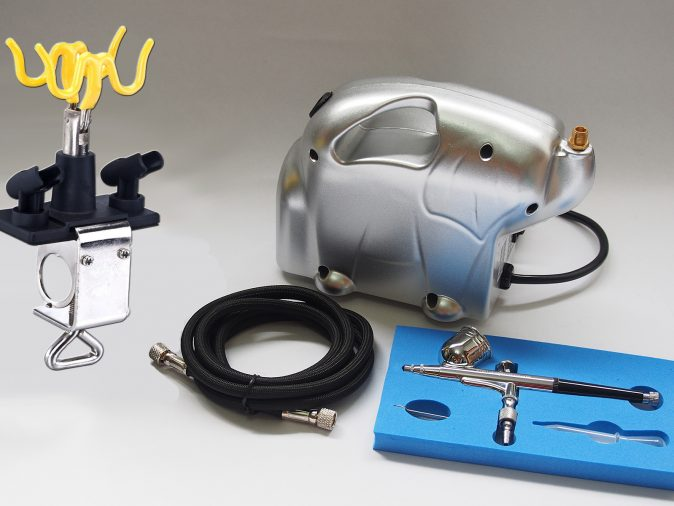 Finespray AB-130 Airbrush & Baby Panda Compressor Kit-0