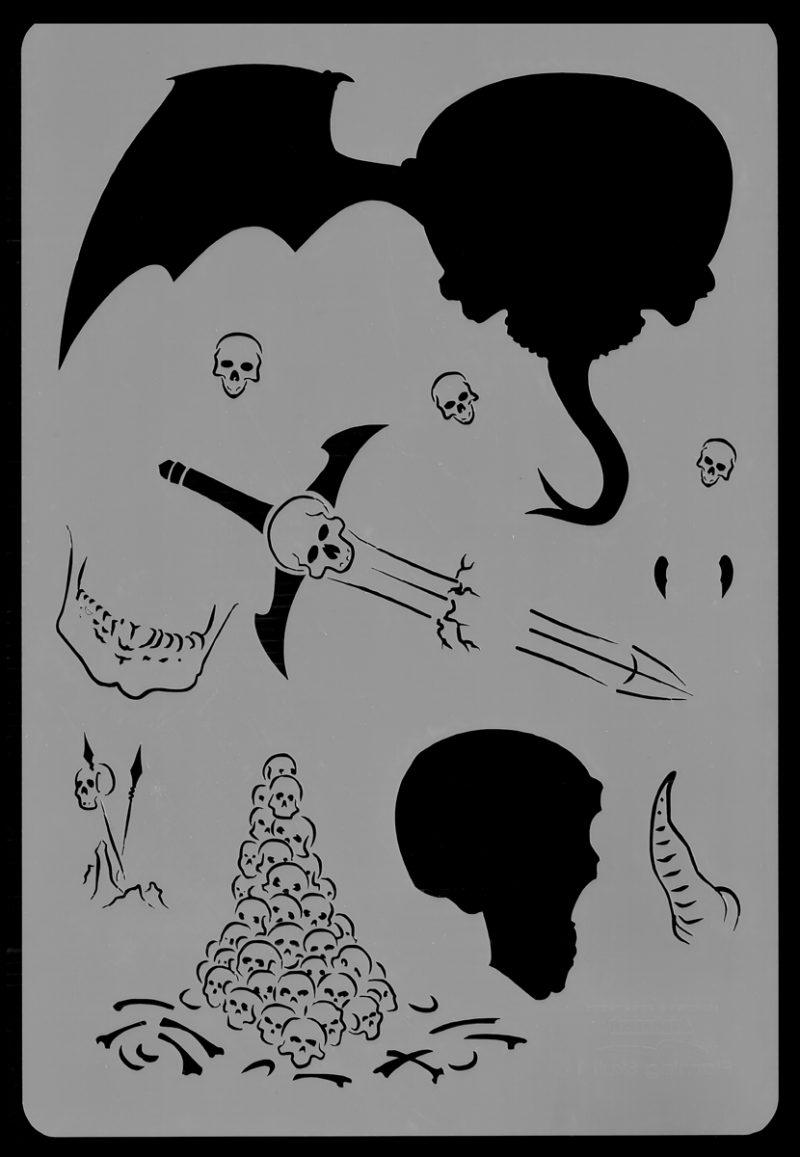 Flaming Skull Stencil 1