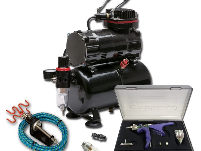 TC-80T Airbrushing Kit With Colani Mini Spray Gun Style Airbrush-0