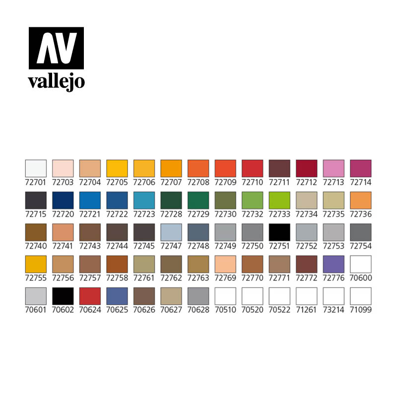 Vallejo Game Air Paint Set - Basic Colors Box Set in Carry Case - 72872-4950
