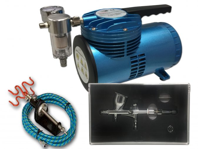 AS-06 Mini Diaphragm Compressor & AB-180 Airbrush Starter Kit-0