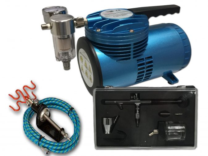 AS-06 Mini Diaphragm Compressor & AB-128 Airbrush Starter Kit-0