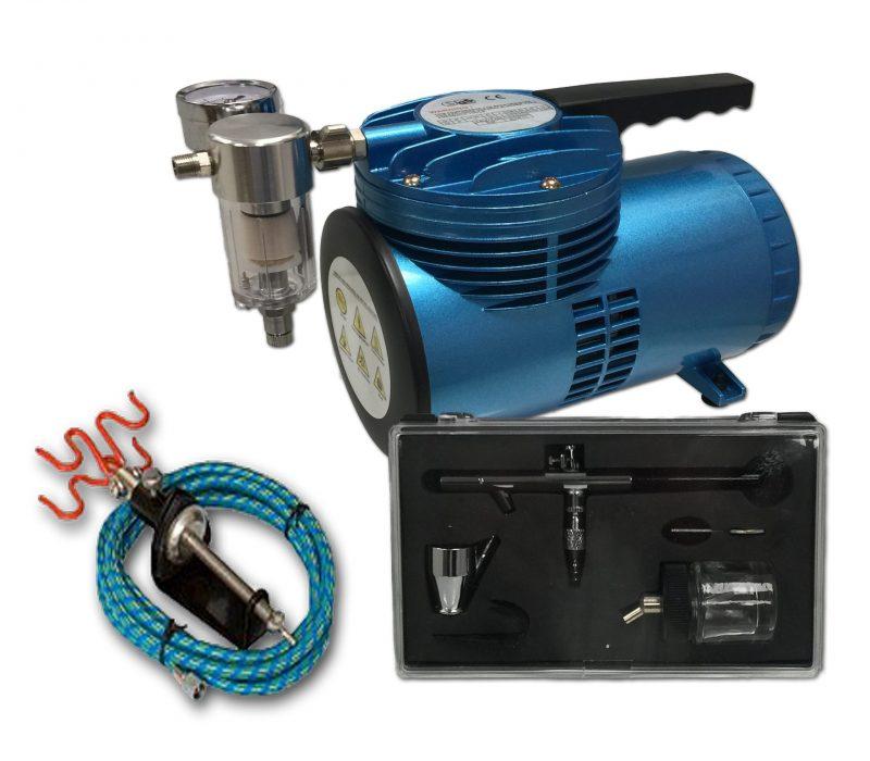 AS-06 Mini Diaphragm Compressor & AB-128 Airbrush Starter Kit-0