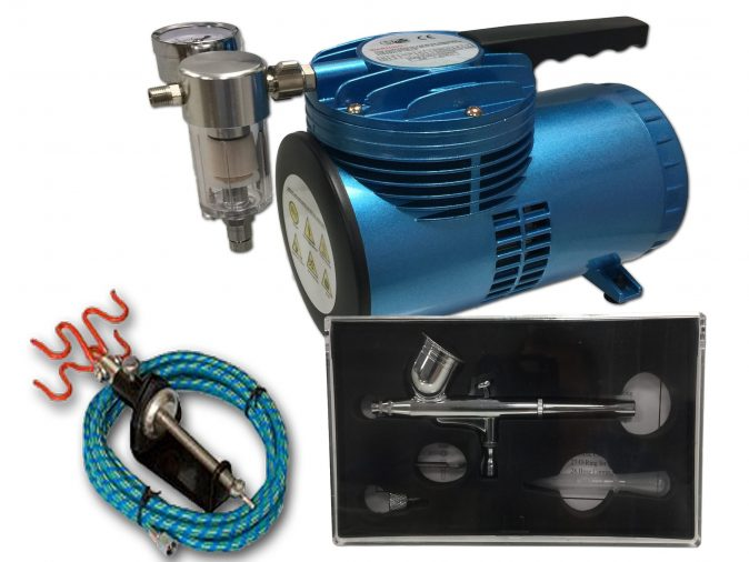 AS-06 Mini Diaphragm Compressor & AB-130A Airbrush Starter Kit-0