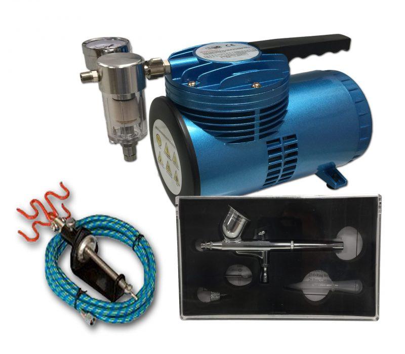 AS-06 Mini Diaphragm Compressor & AB-130A Airbrush Starter Kit-0