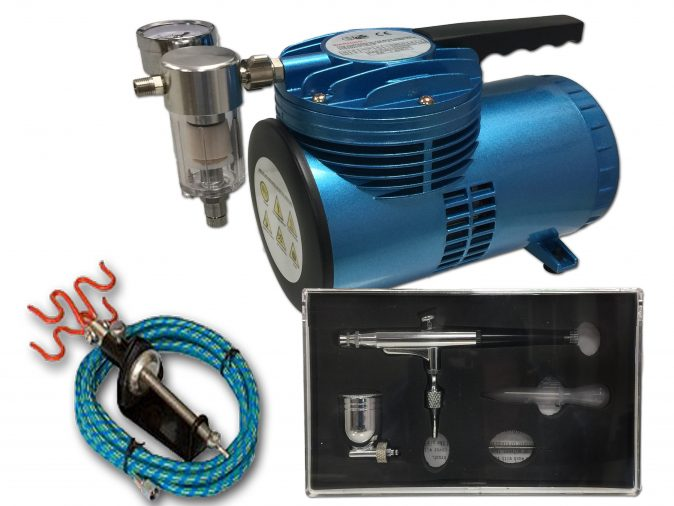 AS-06 Mini Diaphragm Compressor & AB-132 Airbrush Starter Kit-0