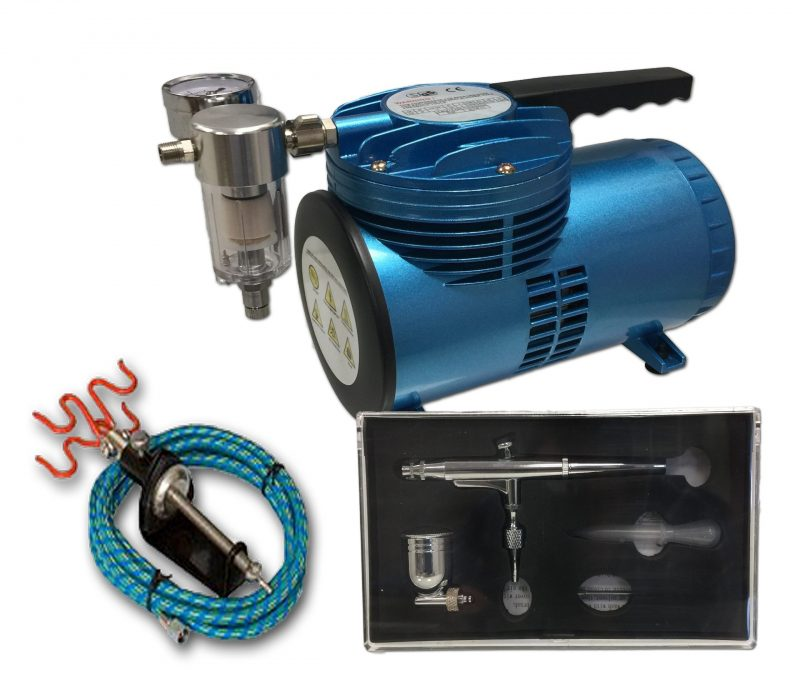 AS-06 Mini Diaphragm Compressor & AB-132A Airbrush Starter Kit-0