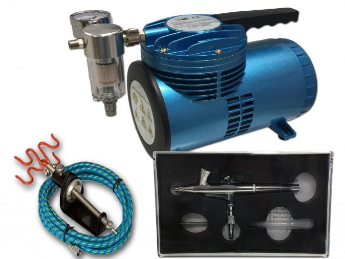 AS-06 Mini Diaphragm Compressor & AB-135A Airbrush Starter Kit-0