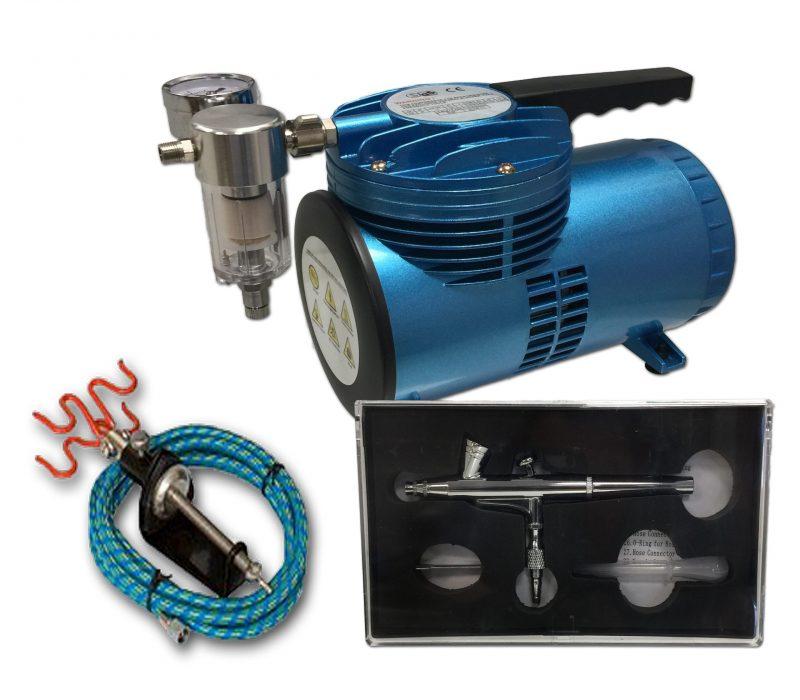 AS-06 Mini Diaphragm Compressor & AB-135A Airbrush Starter Kit-0