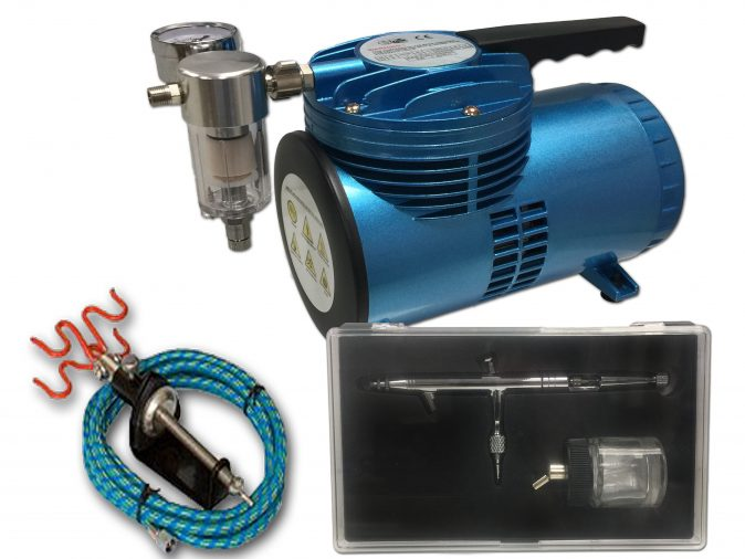 AS-06 Mini Diaphragm Compressor & AB-182 Suction Feed Airbrush Starter Kit-0