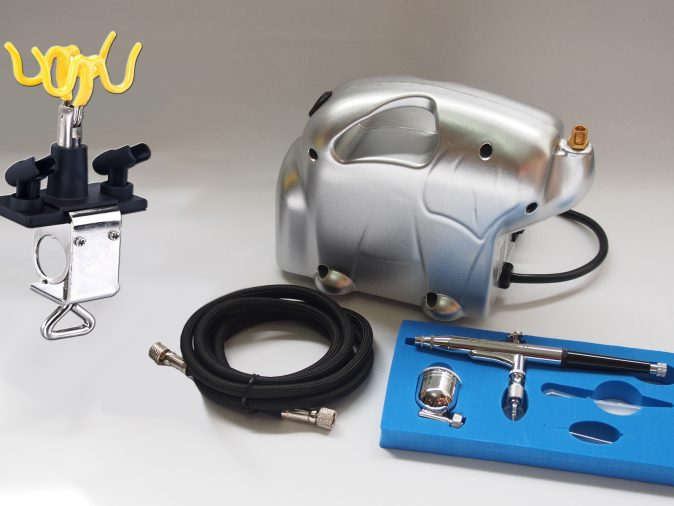 AB-132 Gravity Side Feed Airbrush & Baby Panda Compressor Kit-0
