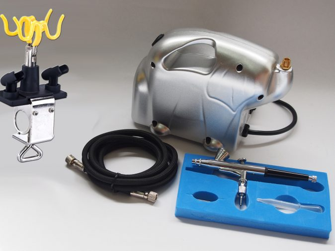 AB-135 Gravity Feed Airbrush & Baby Panda Compressor Kit-0