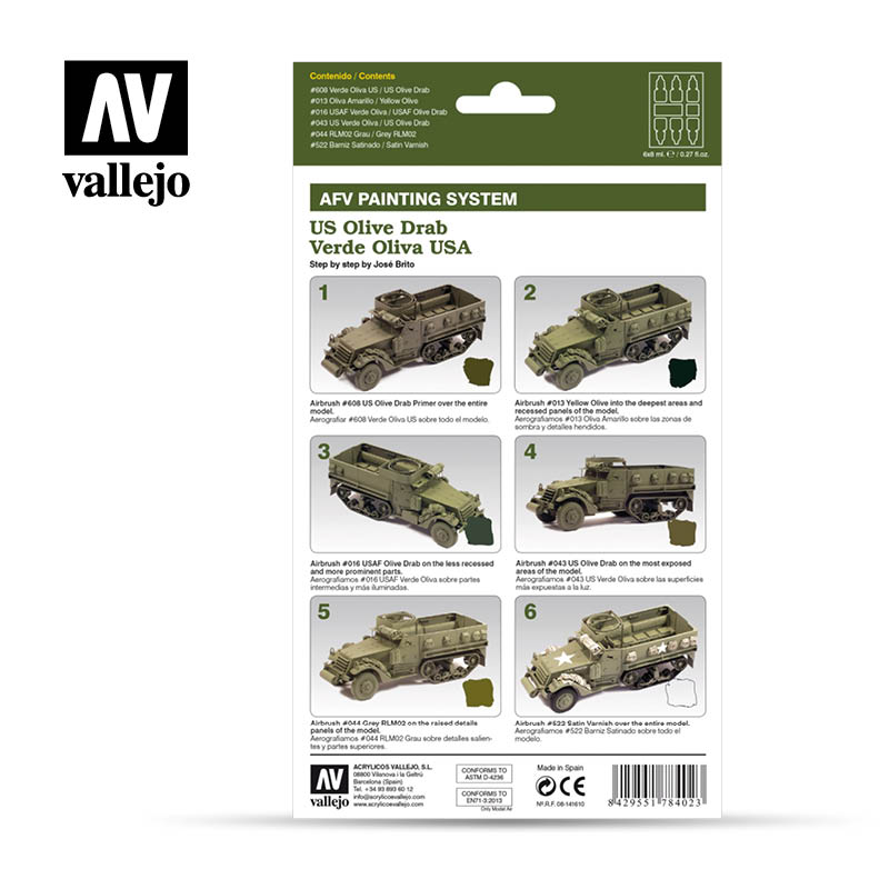 Vallejo AFV Armour Set - US Army Olive Drab - 78402-5207