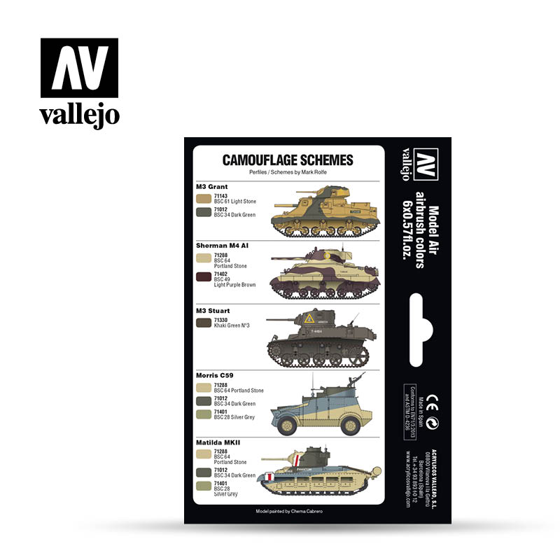 Vallejo Model Air Paint Set - British Caunter Colors - 71211-5170