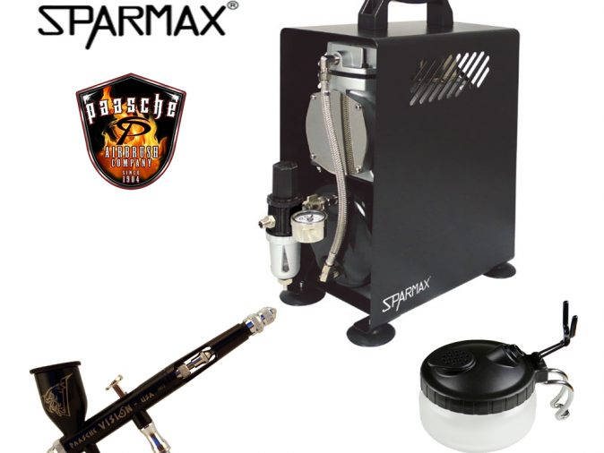 Professional Airbrushing Kit With Paasche Vision & Sparmax 610H